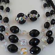 Dramatic Black Glass & Aurora Borealis Crystal Bead Necklace & Earrings