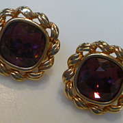 Vintage  Swarovski Amethyst Crystal Earrings