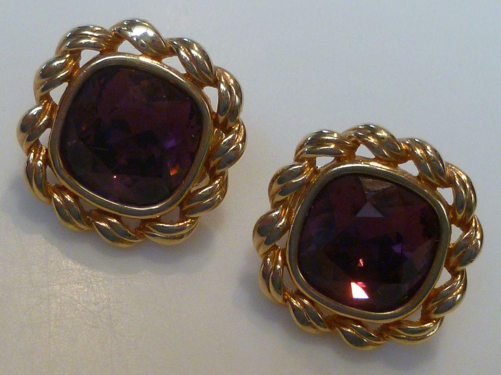 Vintage Swarovski Amethyst Crystal Earrings From