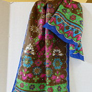 Vintage 1960's Long Flower Power Lady Heritage Scarf