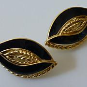 Vintage Trifari Gold Tone and Black Enamel Earrings Signed