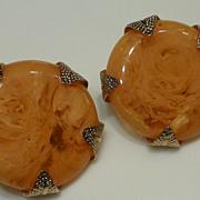 Vintage Big Marino Marbled Applesauce Bakelite Earrings 1950s