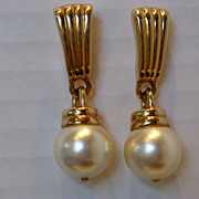 Vintage Swarovski Faux Pearl Drop Earrings