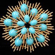 Vintage Avon Faux Turquoise Cabachon Sunburst Brooch