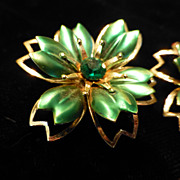 Vintage Metal Enamel and Rhinestone Flower Earrings