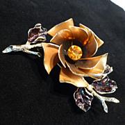 Vintage Big Coro Enamel and Rhinestone Flower Pin Brooch Pre-1955