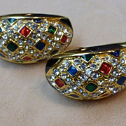 Vintage Bejeweled Rhinestone Enamel Half Hoop Earrings
