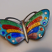 Vintage Sterling Silver Cloisonné Enameled Butterfly Brooch