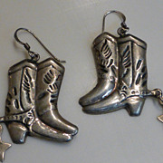 Vintage Sterling Silver Cowgirl Boot Earrings