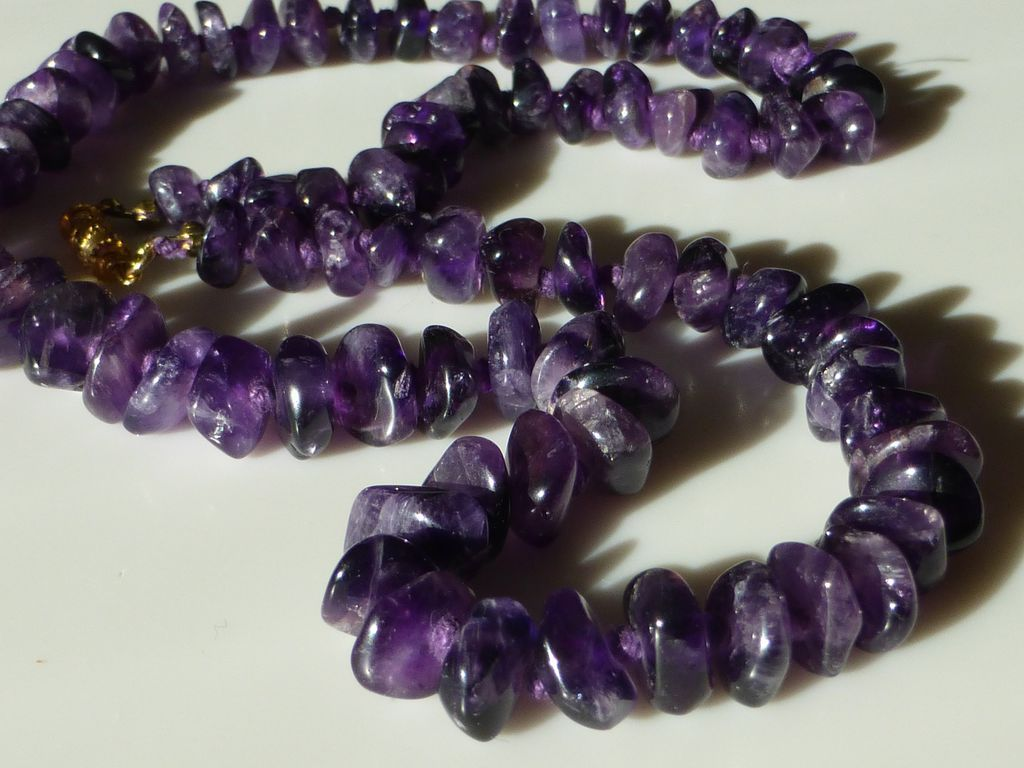 Vintage Polished Amethyst Nugget Necklace 25 Inches From