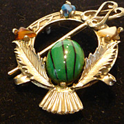 Exquisite Scottish Victorian Revival Penannular Brooch w Faux Agates