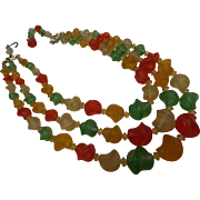 Three Strand Fruit Salad Plastic & Molded Glass Beaded Necklace Germany