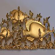 Vintage Jonette  JJ Signed Large Angel Fish Brooch