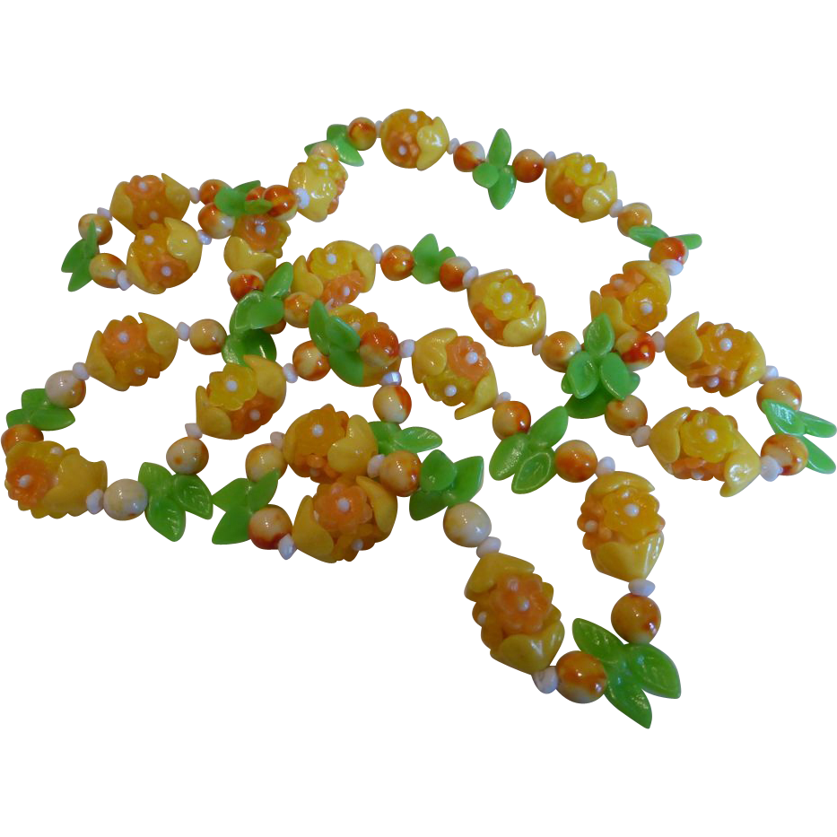 Vintage Plastic And Glass Lemon Flower Necklace From