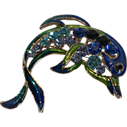 Blue Crystal Rhinestone and Enamel Dolphin Brooch Pin
