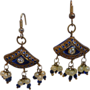 Vintage Enameled Chandelier Earrings