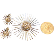 Vintage Domed Pave Rhinestone Sunburst Brooch and Earrings Set