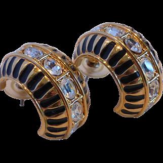 Swarovski Swan Signed Crystal Rhinestone and Black Enamel Earrings