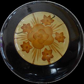 Big Bakelite Apple Juice Reverse Carved Pin Brooch