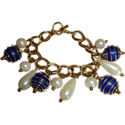 Vintage Caged Glass and Faux Pearl Charm Bracelet