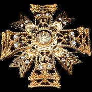 Kenneth Lane KJL Maltese Cross Pendant Brooch