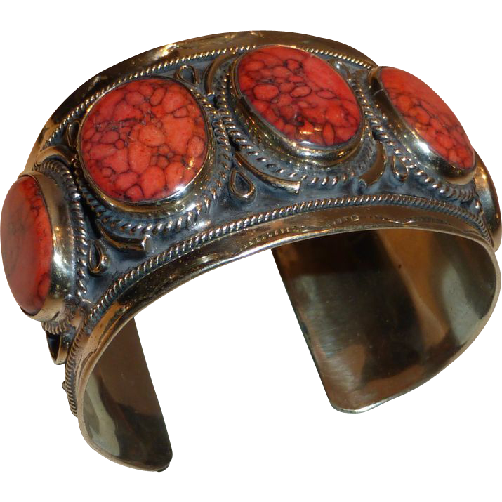 Large vintage silver cuff bracelet w red jasper stones mexico from