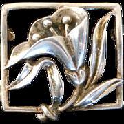 Sterling Silver Coro Framed Flower Brooch Signed