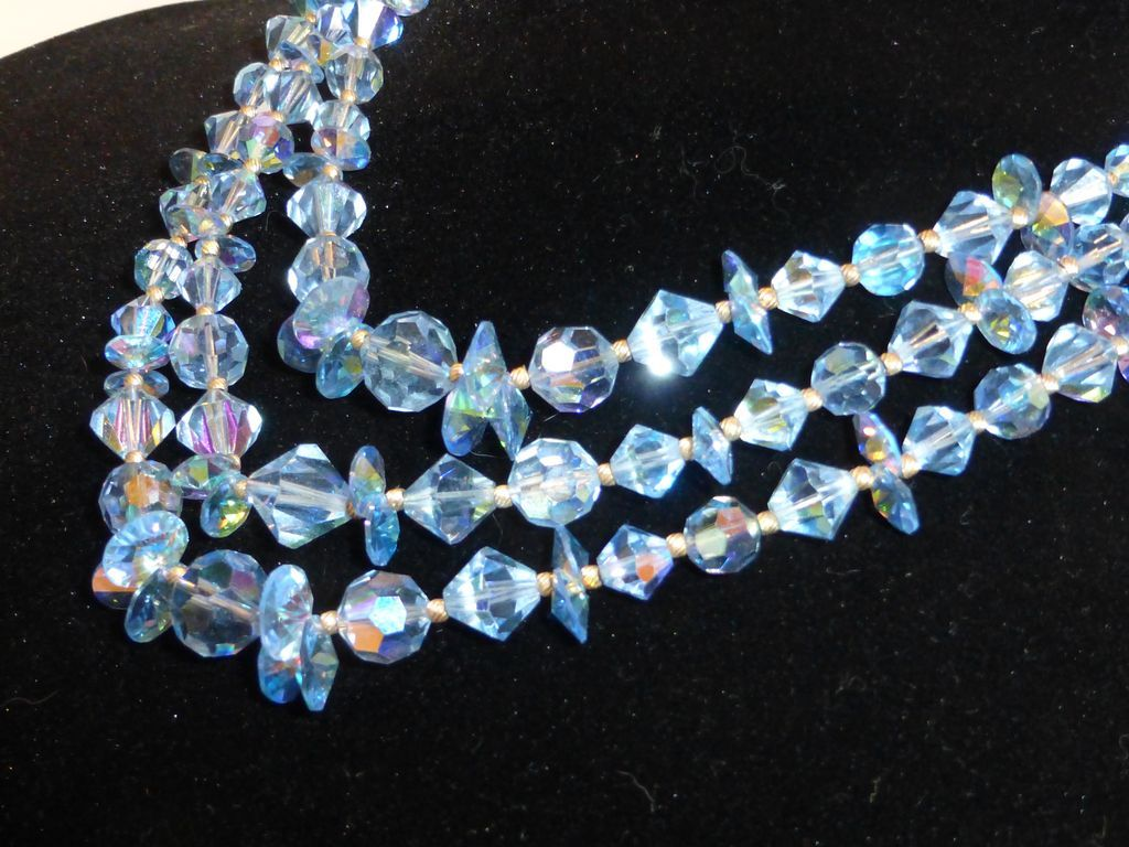 Sky Blue Austrian Ab Crystal Triple Strand Necklace From