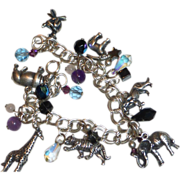 Sterling Silver African Animals Charm Bracelet