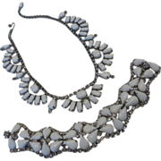 KRAMER White Milk Glass & Crystal Rhinestone Necklace Bracelet Demi-Parure Set