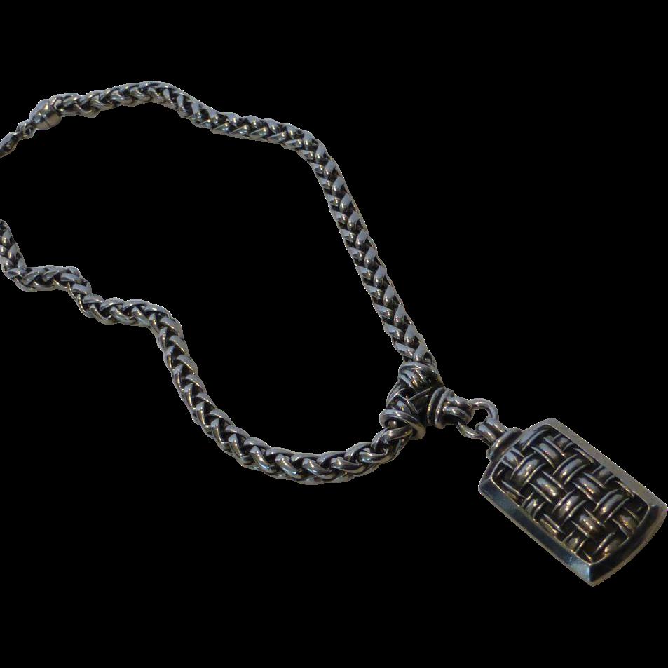 vintage ben amun pewter pendant necklace from historique