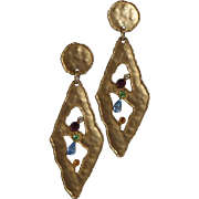 JJ Jonette Modernist Multi-Colored Rhinestone Earrings