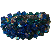 Vintage Blue Aurora Borealis Crystal Cha Cha Expansion Bracelet