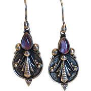 Vintage Sterling Silver Amethyst Stylized Insect Earrings