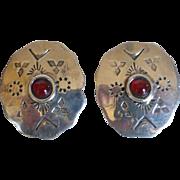 Vintage Native American Sterling Silver Carnelian Earrings