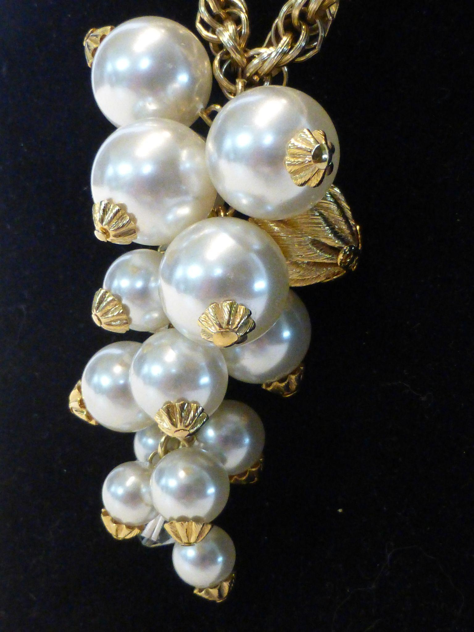 Vintage Faux Pearl Amp Crystal Cluster Drop Gold Tone