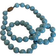 Vintage Peking Glass Bead Necklace Robin's Egg Blue