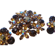 Elegant Topaz Rhinestone Brooch and Earrings Set
