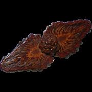Vintage Flame Wood Pin Brooch