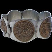 Vintage Taxco Sterling Silver Aztec Motif Bracelet Hecho En Mexico