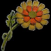 Vintage 1960's Enamel Metal Flower Power Brooch Pin