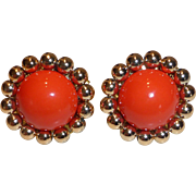 Rare Coppola E Toppo 1960s CuffLinks Orange Lucite and Gold Plated Made in Italy