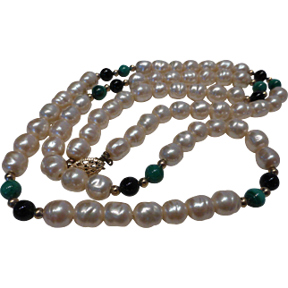 Vintage Biwa Fresh Water Pearl & Malachite Necklace Gold Plated Clasp