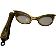 Lorgnette Folding Opera Glasses Cat Eyes with Rhinestones 1950's