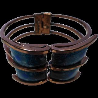 Signed Matisse Renoir Modernist Copper Enamel Hinged Clamper Bracelet