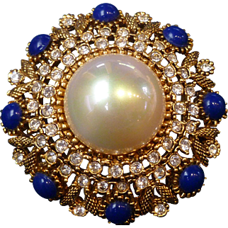 Victorian Etruscan Faux Mabe Pearl Lapis Blue & Crystal Rhinestone Brooch