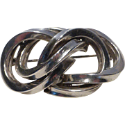 Vintage Sterling Silver Knot Brooch Pin Germany