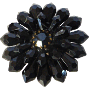 West Germany Black Plastic and Glass Cluster Bead Brooch