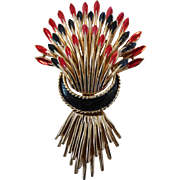 Vintage Crown Trifari Red and Black Enameled Wheat Sheaf Pin Brooch