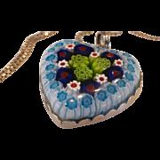 Sterling Silver Murano Millefiori Heart Pendant Necklace Venetian Italian 925